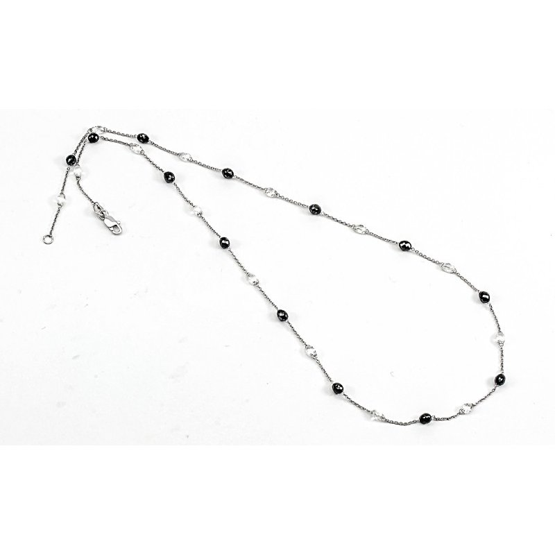 Murphy Pitard Signature Collection Diamond & Black Diamond Briolette Station Necklace