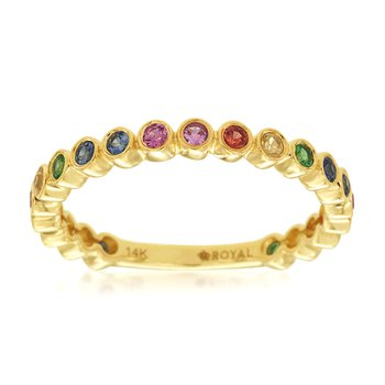 Rainbow Sapphire Stackable Band