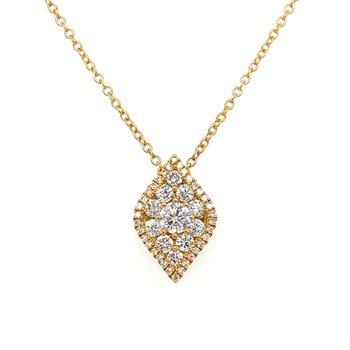 Diamond Shaped Pavé Halo Pendant Necklace