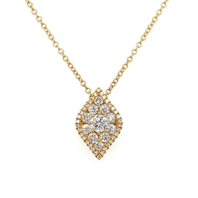 Murphy Pitard Signature Collection Diamond Shaped Pavé Halo Pendant Necklace