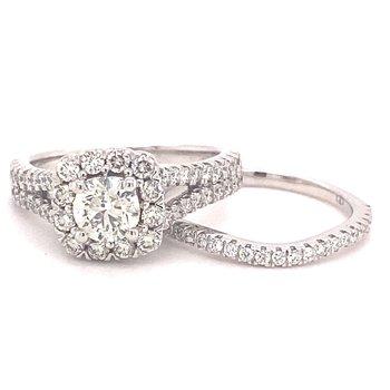 Round Diamond Halo Split Band Engagement Ring With Matching Diamond Anniversary Band