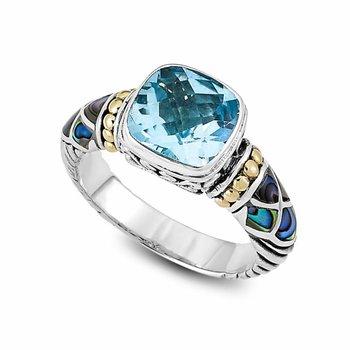 Sterling Blue Topaz & Abalone Ring