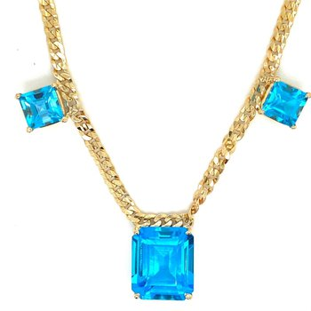 AAA Blue Topaz Emerald Cut Necklace
