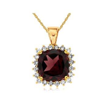 Garnet & Diamond Halo Pendant Necklace