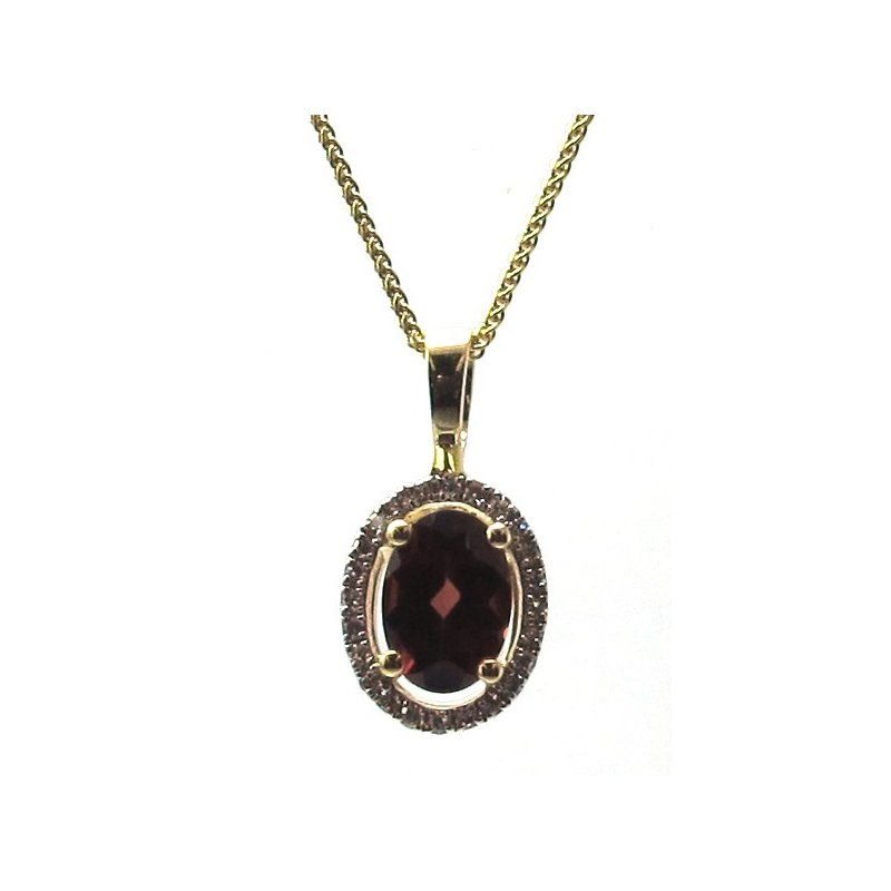 Murphy Pitard Signature Collection Garnet & Diamond Halo Pendant Necklace