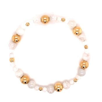Gold-Filled and Moonstone Beaded Stretch Bracelet
