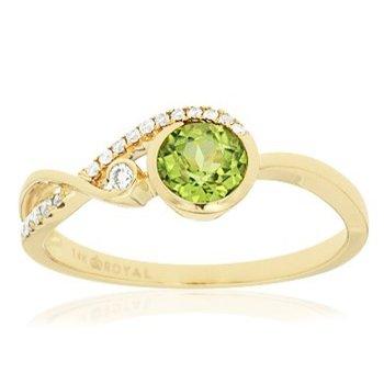 Peridot & Diamond Bypass Fashion Ring