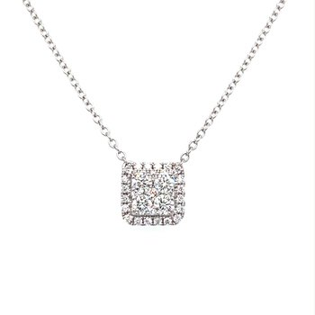 Cushion Shape Diamond Halo Cluster Necklace