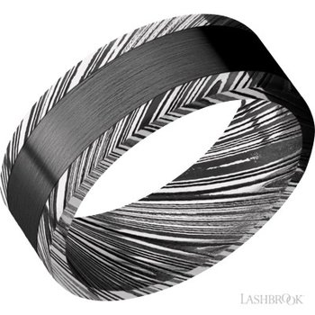 Men's Woodgrain Damascus And Zirconium Band