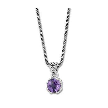 Amethyst Drop Pendant Necklace