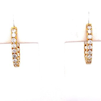 Medium Yellow Gold 1 Carat Diamond Oval Hoop Earrings