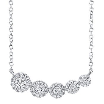 Diamond 1/3 Carats Halo East To West Necklace