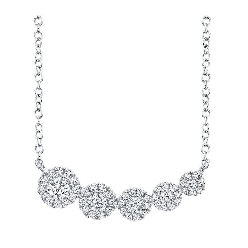 Shy Creation Diamond 1/3 Carats Halo East To West Necklace