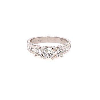 Diamond Three Stone  & Milgrain Engagement Ring