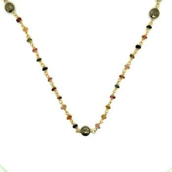 Diana Tourmaline and Pyrite Satellite Necklace