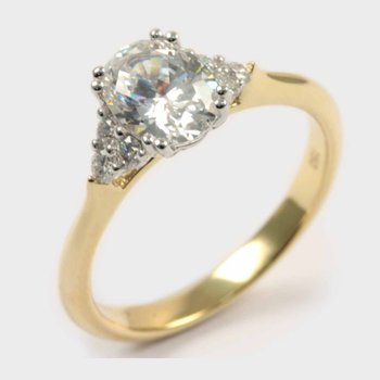 Diamond Two Tone Oval Engagement Ring