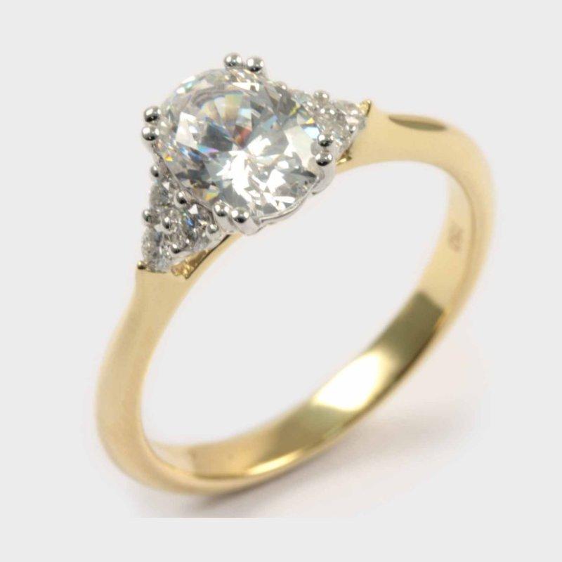 Diadori (Cheri Dori) Diamond Two Tone Oval Engagement Ring