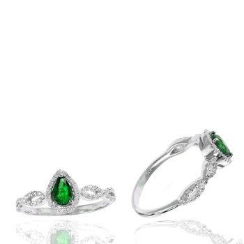 Pear Emerald & Diamond Halo Twist Ring