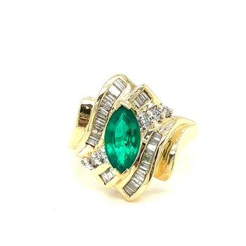 Synthetic Emerald & Diamond Bypass Ring