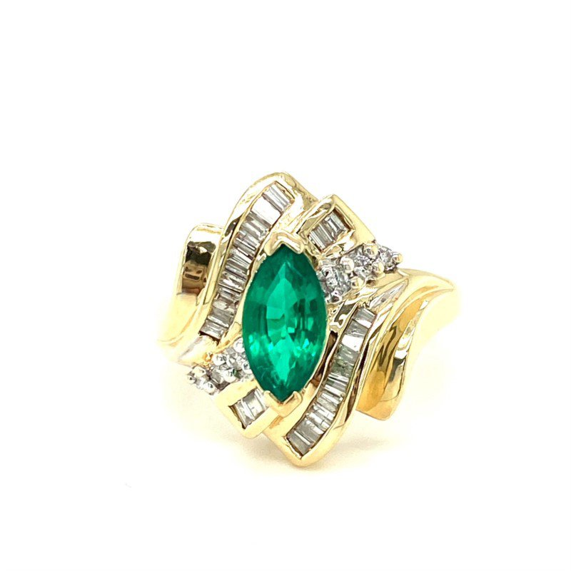 Murphy Pitard Estate Collection Synthetic Emerald & Diamond Bypass Ring