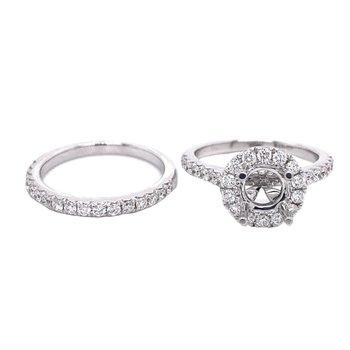 Round Diamond Halo Engagement Ring & Straight Diamond Anniversary Wedding Set
