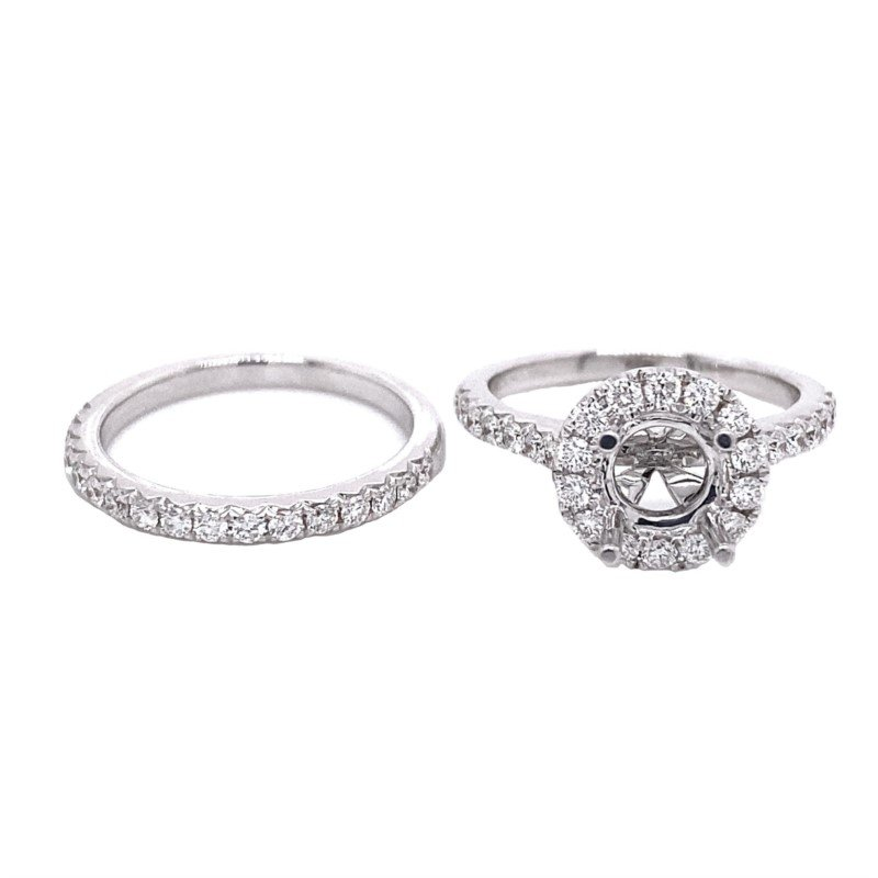 Murphy Pitard Signature Collection Round Diamond Halo Engagement Ring & Straight Diamond Anniversary Wedding Set