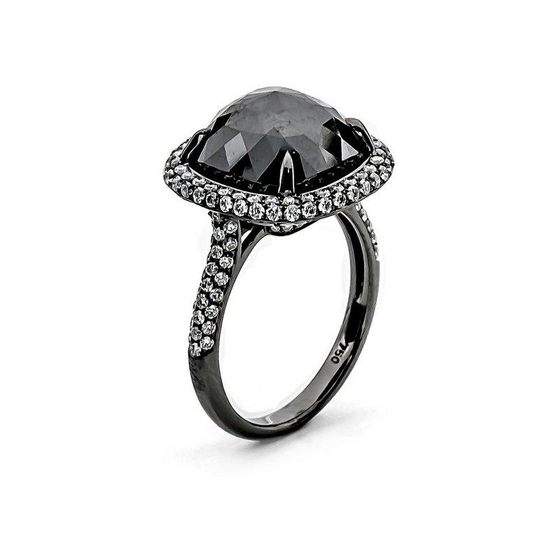 Murphy Pitard Signature Collection Black Diamond Rose Cut Halo Ring