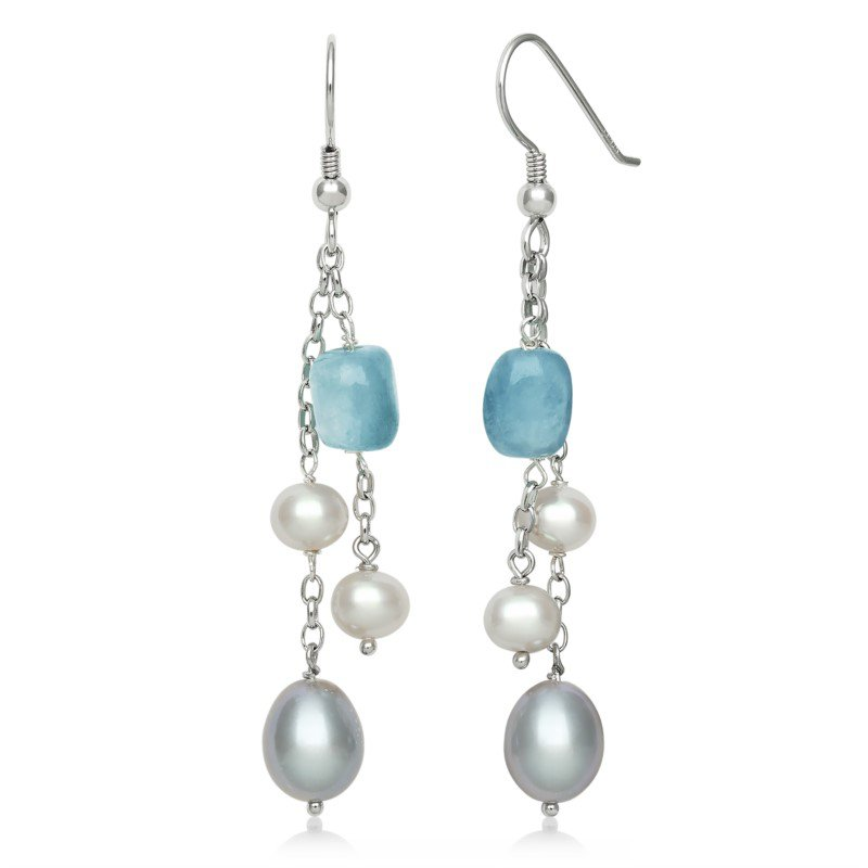 Murphy Pitard Signature Collection Aquamarine and Pearl Dangle Earrings