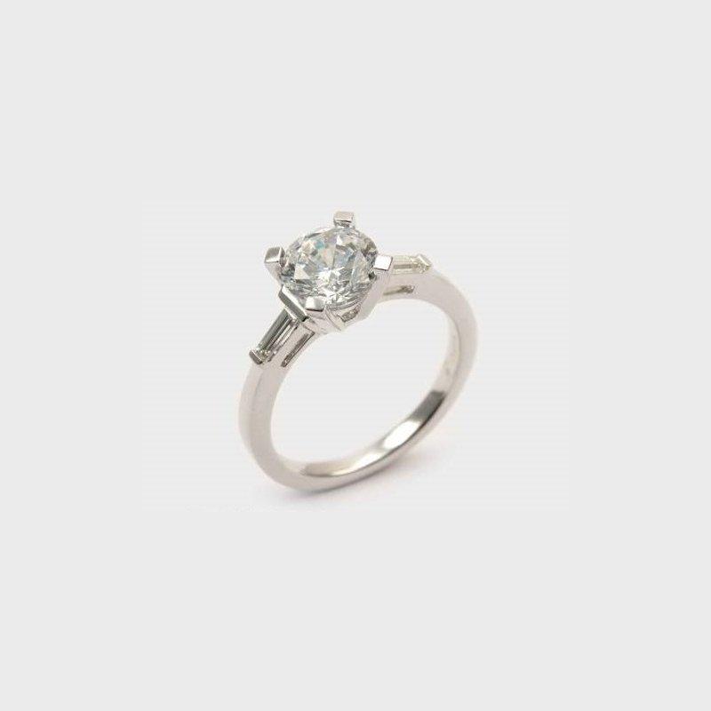 Diadori (Cheri Dori) Round & Baguette Diamond Engagement Ring