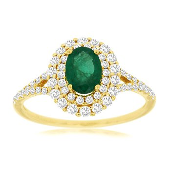 Diamond Double Halo Emerald Ring