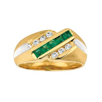 Emerald & Diamond Channel Ring