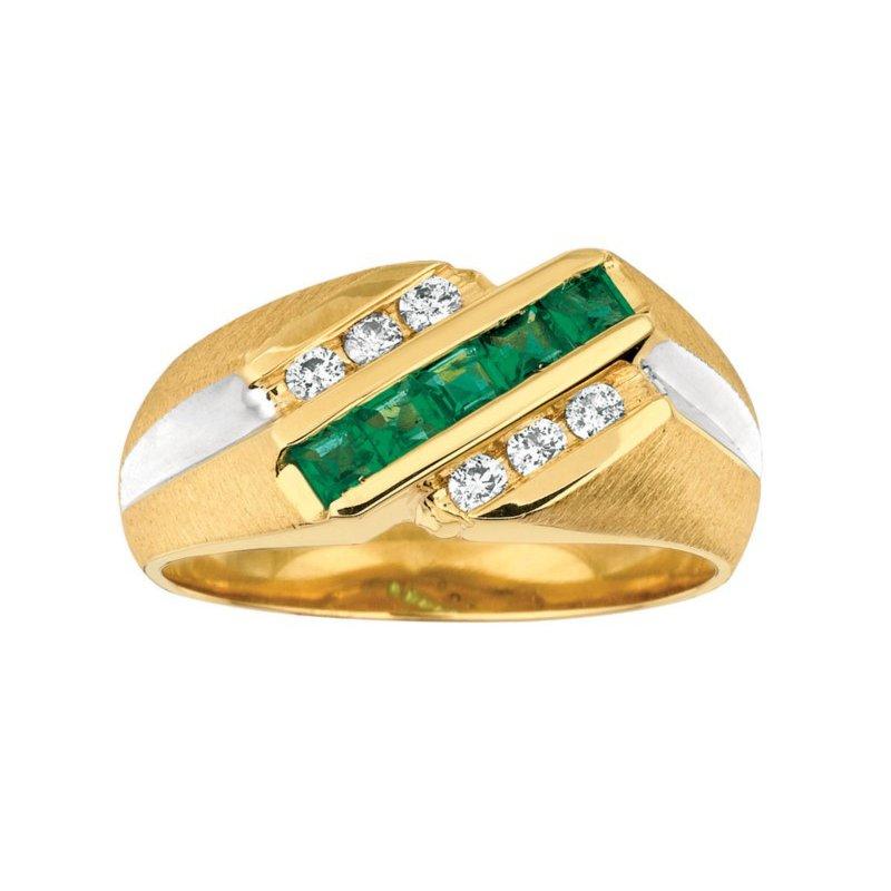 Murphy Pitard Signature Collection Emerald & Diamond Channel Ring