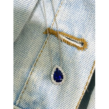 Pear Kashmir Blue Sapphire & Diamond Halo Necklace