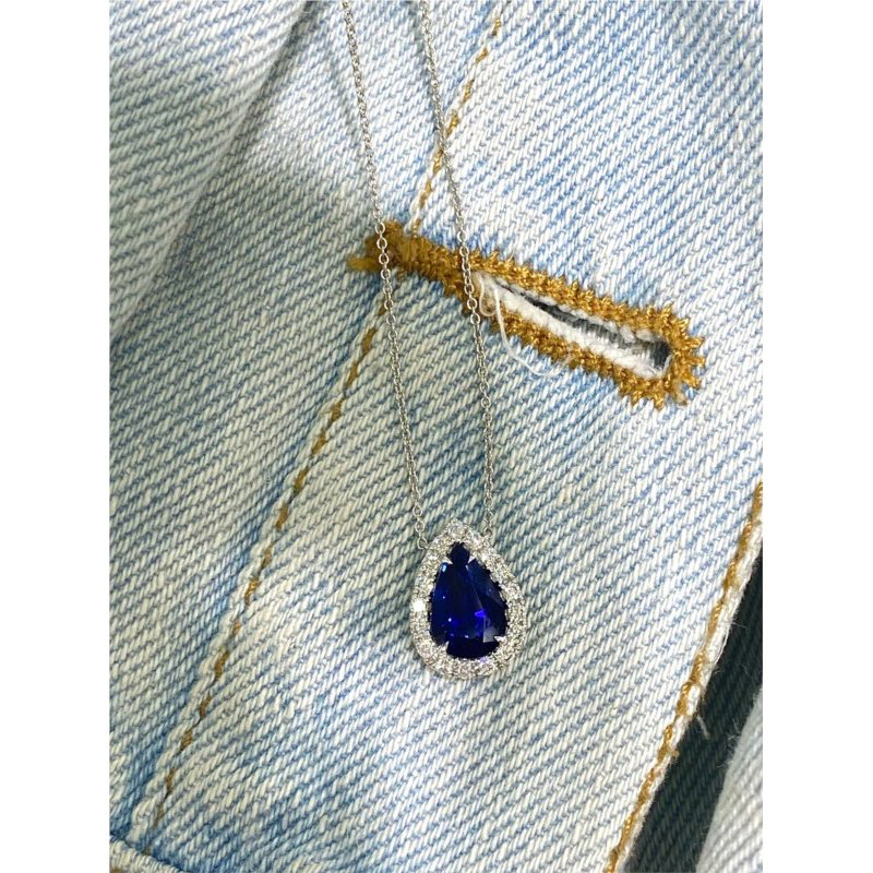 Murphy Pitard Signature Collection Pear Kashmir Blue Sapphire & Diamond Halo Necklace