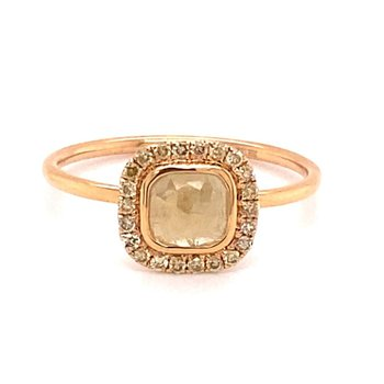 Yellow Diamond Halo Slice Fashion Ring