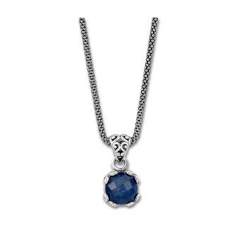 Blue Sapphire Drop Pendant Necklace