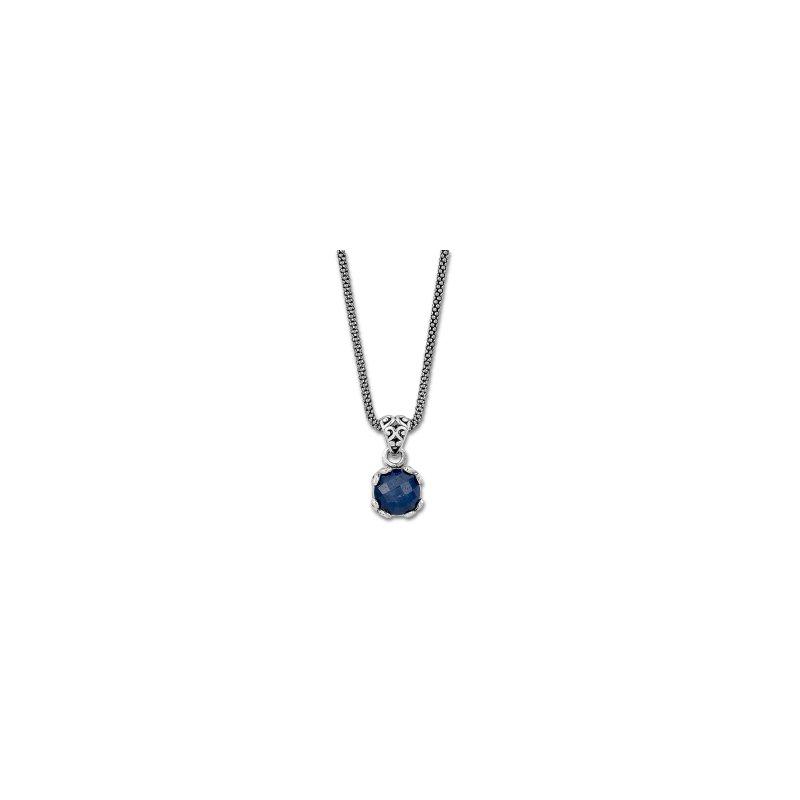 Samuel B. Blue Sapphire Drop Pendant Necklace