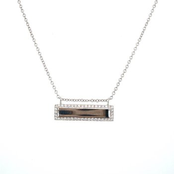Diamond Edged Bar Necklace