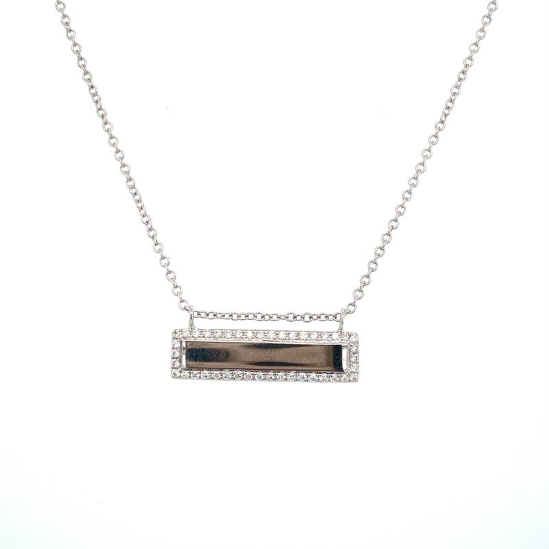 Murphy Pitard Signature Collection Diamond Edged Bar Necklace