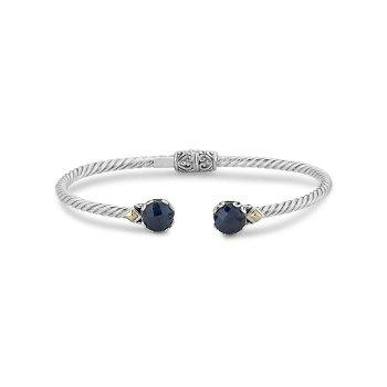 Blue Sapphire Twisted Bangle Bracelet