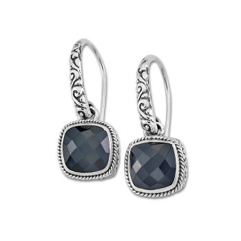 Black Onyx Floral Earrings