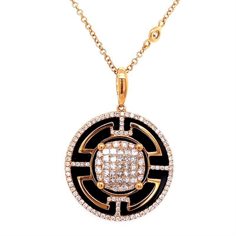 Murphy Pitard Signature Collection Rose Gold Diamond and Onyx Pendant