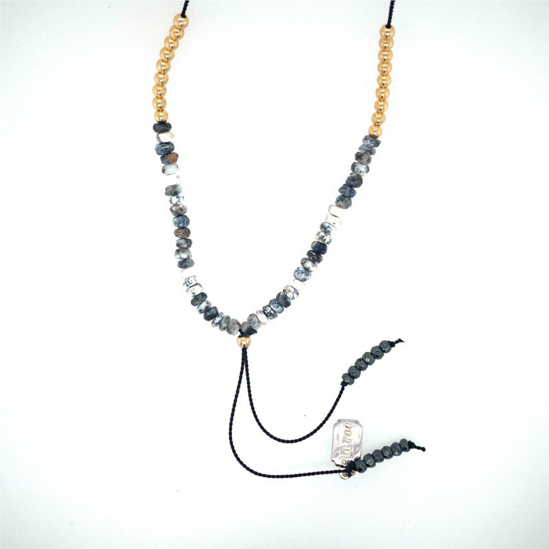 ela rae new york city Silk Yaeli Necklace with Dendrite Opals and Gold Filled Beads