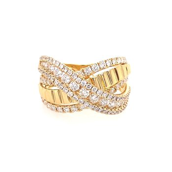Diamond & Polish Multi Row Crossover Fashion Ring