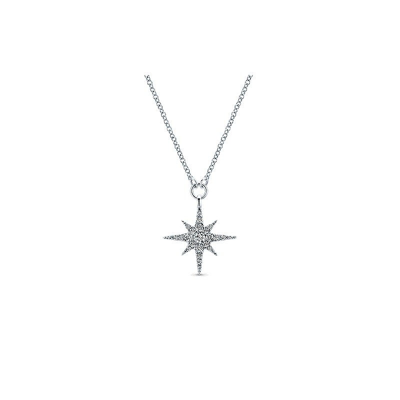 Gabriel & Co. New York Diamond Starburst Pendant Necklace