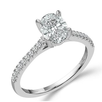 Oval Diamond 3/4 Carats Diamond Accented Engagement Ring