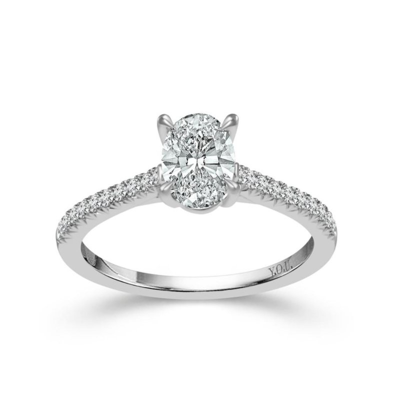 Murphy Pitard Signature Collection Oval Diamond 3/4 Carats Diamond Accented Engagement Ring