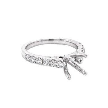 Round Diamond Side Stone Engagement Ring