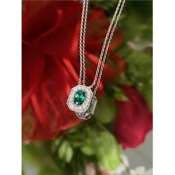Diamond Accented Oval Emerald Milgrain Halo Pendant Necklace