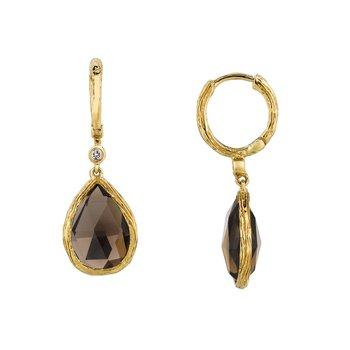 Diamond Accented Smoky Quartz Dangle Earrings
